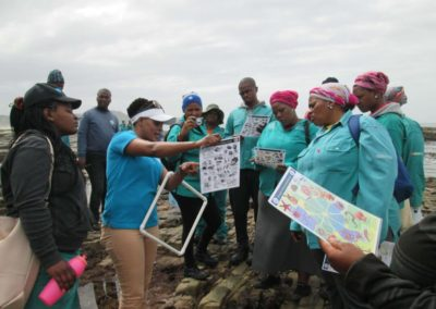 EPWP trainees learning about different marine ecosystems and their importance out on the shoreline.